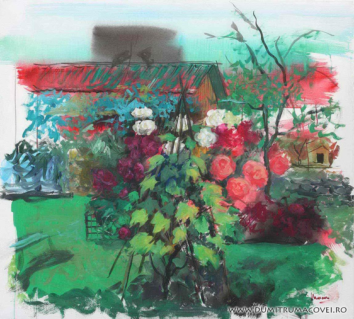 pictor Dumitru Macovei, In gradina