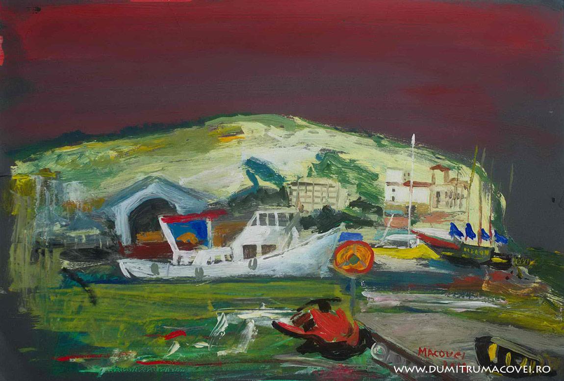 pictor Dumitru Macovei, Noaptea in port, Balcic