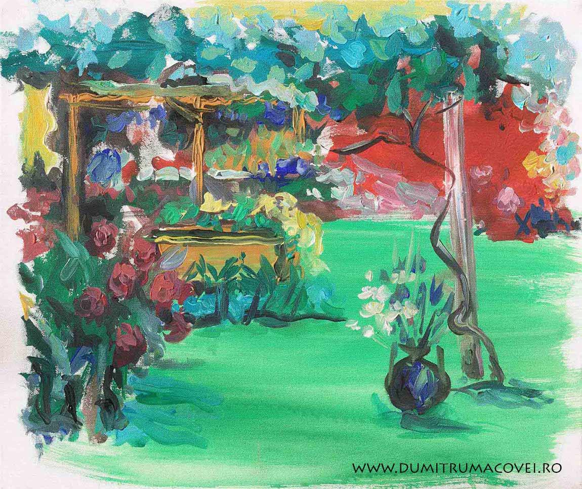 pictor Dumitru Macovei, vas cu flori pe iarba