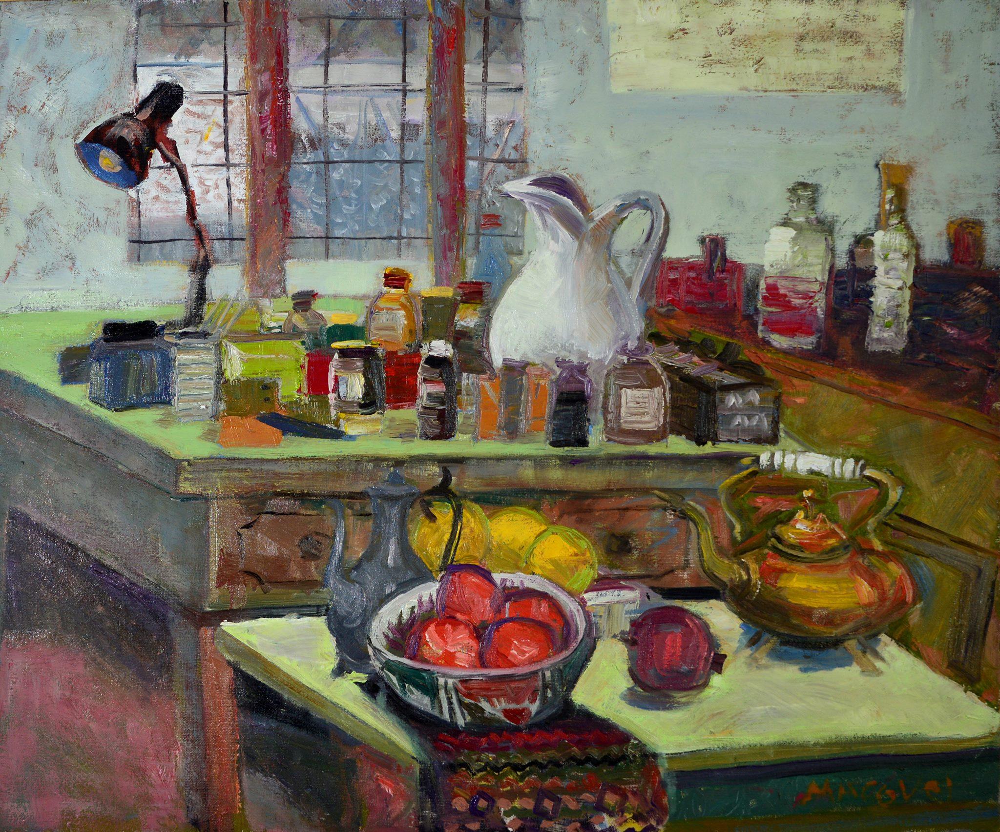 In atelier I, pictor Dumitru Macovei